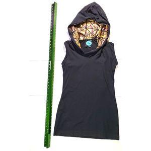 Black sleeveless dress with gold hood